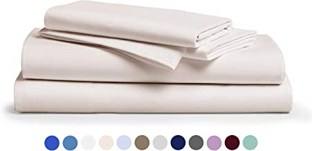 600 Thread Count 100% Cotton Sheet Ivory Queen Sheets Set, 4-Piece Long-Staple Combed Pure Cotton Best Sheets for Bed, Breathable, Soft & Silky Sateen Weave Fits Mattress Upto 18'' Deep Pocket