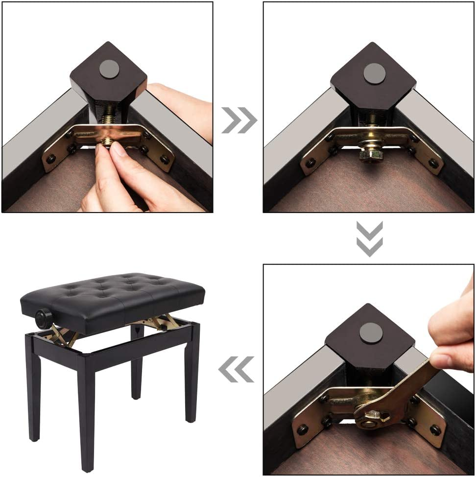 22inch Adjustable Wooden Piano Bench Padded Leather Backless Stool Without Storage Keyboard Seat