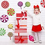 30 Pieces Peppermint Floor Decals Stickers Colorful Candies Round Lollipop Floor Decals Stickers for Xmas Candy Land Theme Birthday Wedding Party Bulletin Board Decorations