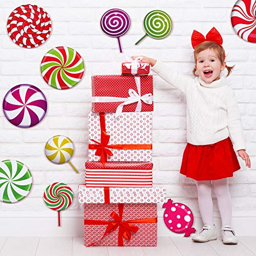 30 Pieces Peppermint Floor Decals Stickers Colorful Candies Round Lollipop Floor Decals Stickers for Xmas Candy Theme Birthday Wedding Party Bulletin Board Decorations