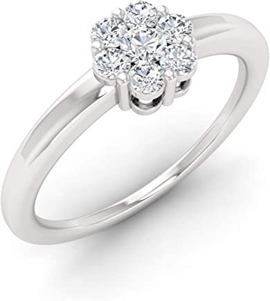 Certified 0.40 cttw Round Natural Diamonds Seven Stone Cluster Engagement Ring for Women in 18K White Gold Size 6.5