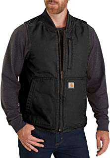 Men's Loose Fit Washed Duck Insulated Rib Collar Vest