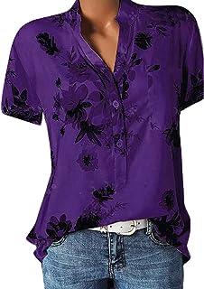 Lulupi Damen Bluse Kurzarm V-Ausschnitt Hemdbluse Sommer Shirt Blumen Knopfleiste Tunika Tops Oversize Locker Oberteil Longshirt Hemd
