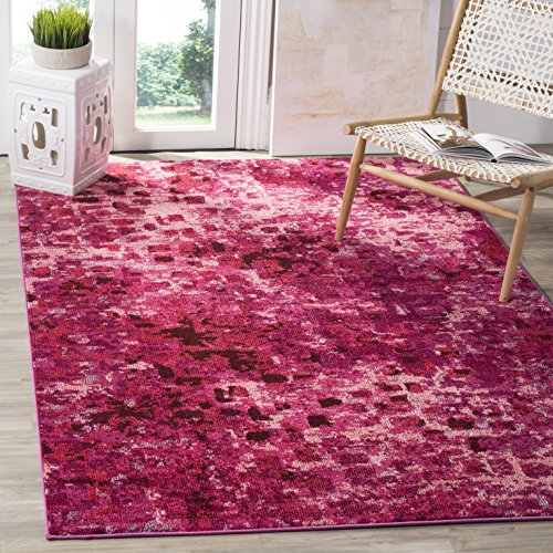 "Safavieh Monaco Collection MNC225F Modern Abstract Watercolor Fuchsia Pink Square Area Rug (6'7"" Square)"