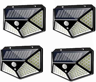 BBZZ Lot de 4 lampes solaires de sécurité à 100 LED avec détecteur de mouvement PIR 3 modes