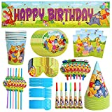 Party Tableware,CBOSNF 71 PCS Winnie The Pooh Party Supplies,Kids Birthday Party Tableware - 6 Plates 6 Cups 10 Napkins 1 Banner etc.-Serves 6 Guests
