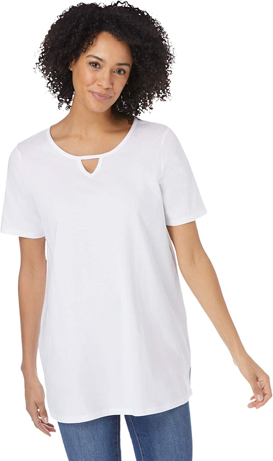 Woman Within Women's Plus Size Perfect Short-Sleeve Keyhole Tee Shirt