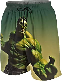 The Incredible Hulk Men's Boy's Casual Summer Quick Dry Trunks Beach Pant Swim & Run Board Shorts with Pockets