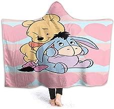 JIEKEME Hooded Blanket Winnie Pooh' and Eeyore Throw Wearable Cuddle Hooded Robe Blanket