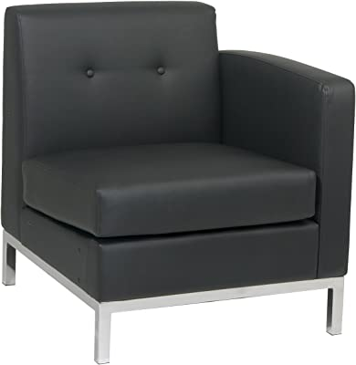 OSP Home Furnishings AVE SIX Avenue 6-Wall Street Right Arm Facing Chair, Black Faux Leather