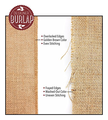 Burlap Table Runners - 12 Inch Wide X 10 Yards Long Burlap Roll - Burlap Fabric Rolls. A No-Fray Burlap Runner with Overlocked and Sewn Edges for Rustic Weddings, Decorations and Crafts!