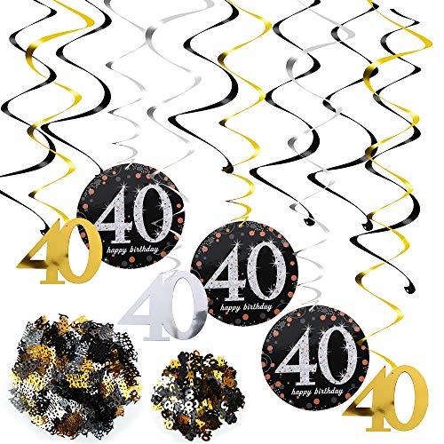 FLOFIA 40. Geburtstag Dekoration Spirale Deko 40. Geburtstag Hängedeko für Mann und Frau Schwarz Gold Geburtstag Deckenhänger 40 Swirl Spiral Girlanden mit Konfetti 40 Jahre alt Dekoration
