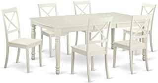 East West Furniture 7 Piece Dinette Table and 6 Dining Room Chairs