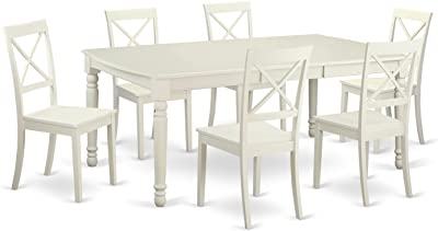 white table and chairs with attached leaf