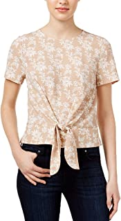 kensie Womens Crepe Tie-Front Top (Beige Floral, Large)