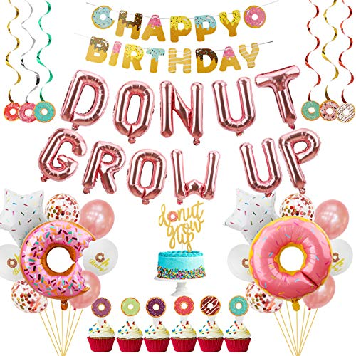 Donut Grow Up Party Decorations Supplies Kit - 46Pcs - Donut Theme Birthday Party Decorations - Donut Grow Up Balloons, Cake Topper, Donut Banner, Swirls, Donut Balloon, Star Foil, Latex Balloons