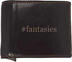#fantasies - Soft Hashtag Cowhide Genuine Engraved Bifold Leather Wallet