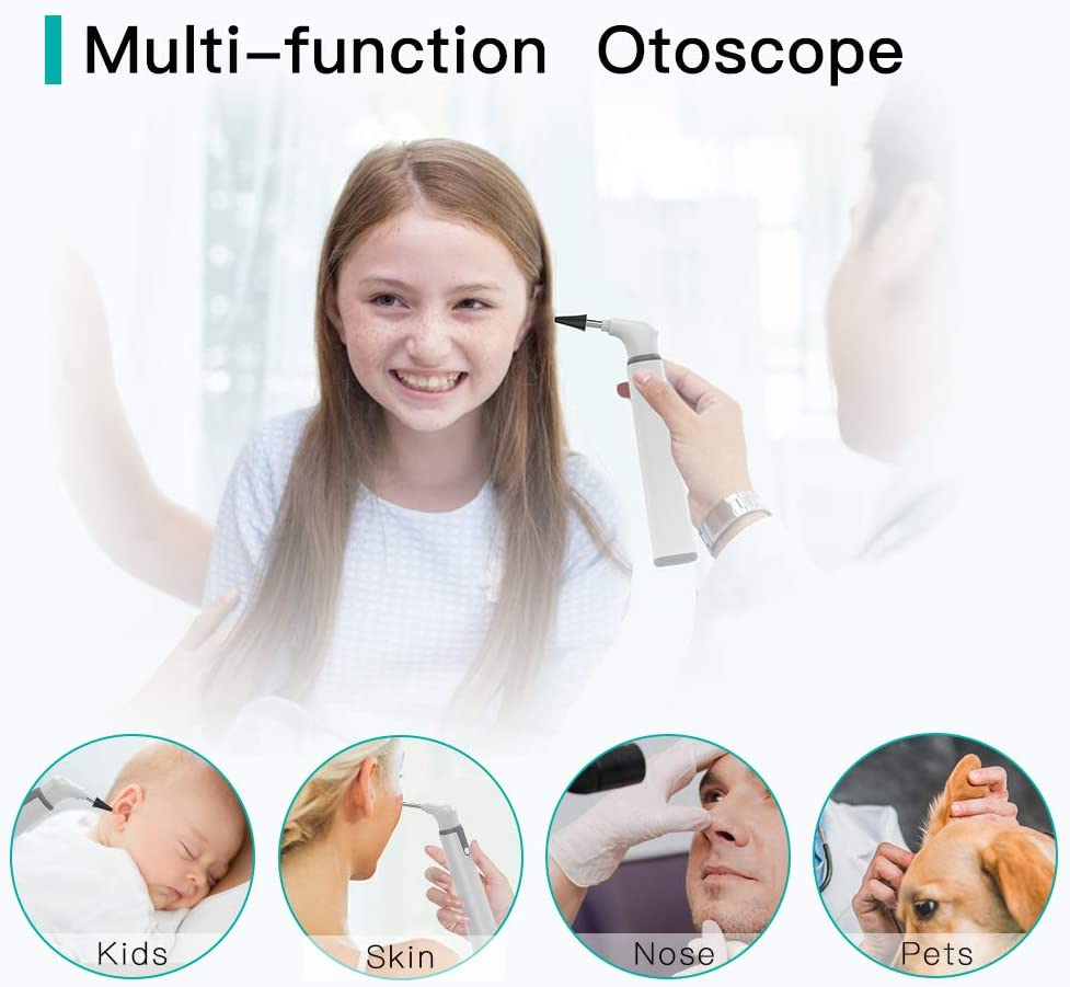 Wireless Otoscope Ear Camera with Dual View, 3.9mm 720PHD WiFi Ear Scope with 6 LED Lights for Kids and Adults, Compatible with Android and iPhone