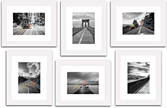 """Painting Mantra Decorative Premium Set of 6 Individual Wall Photo Frame (6"""" X 8"""" Picture Size matted to 4"""" x 6"""") - White"""