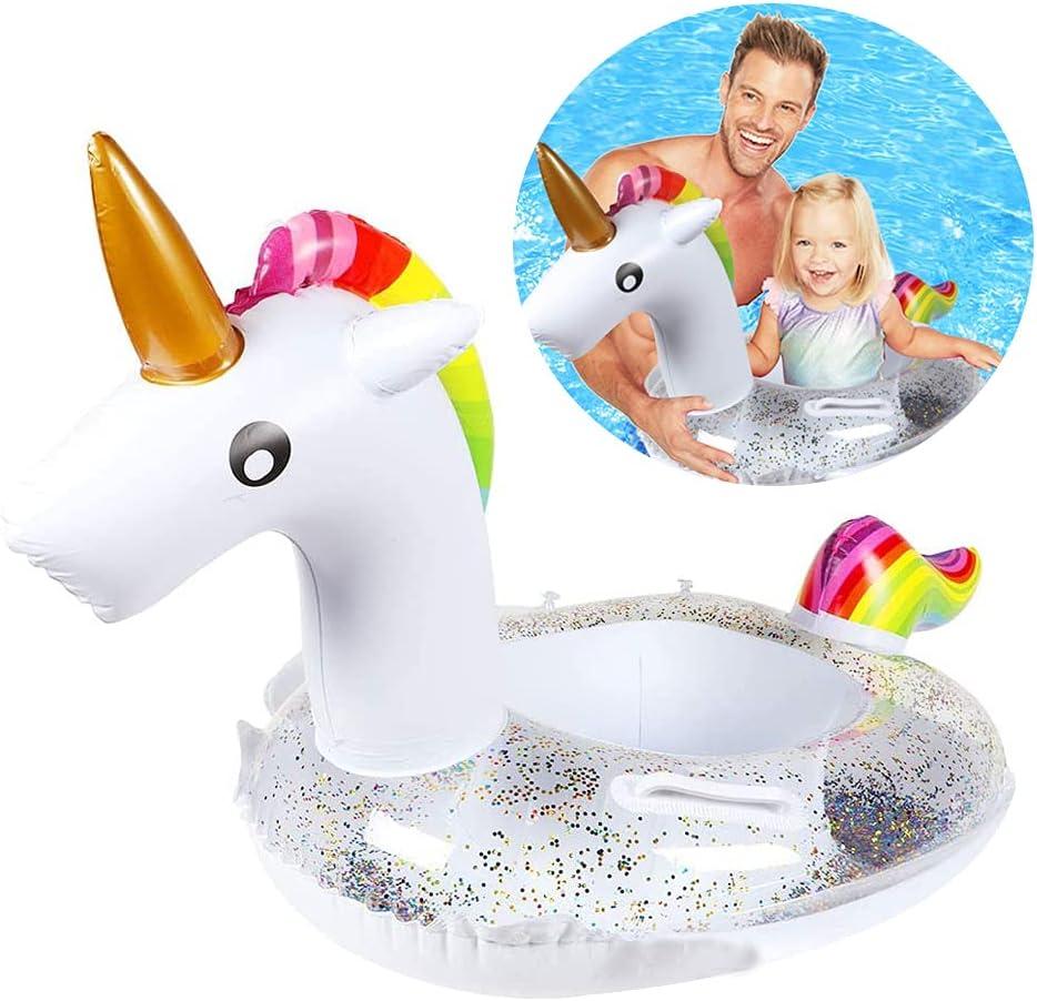 BTXY Cama Flotante de Unicornio,BETOY Niño Unicornio Flotador Inflable Infant Natación Anillo Infantil Piscina Asiento Verano en la Piscina Juguete Inflable,Adecuado para Adultos y Niños