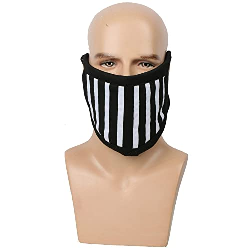 Adult Face Mask Black White Stripes Cotton Accessory