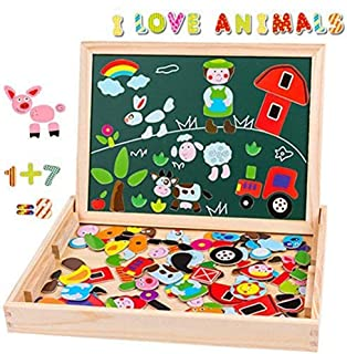 Uping Puzzle de Madera Magnético | Puzzle de 115 Piezas + Número de 40 Piezas y Alfabeto | Tablero de Dibujo de Doble Cara Magnético, Juguete Educativo | para niños de 3 años+