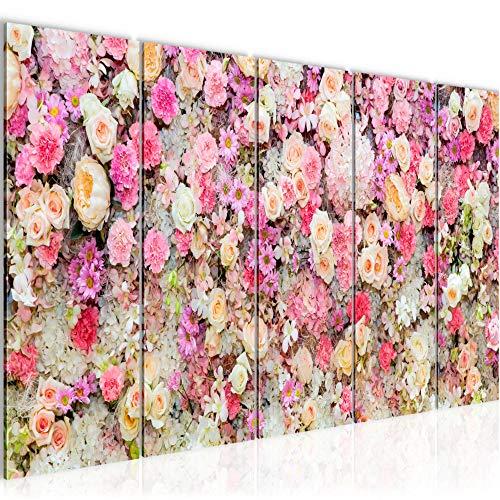 Bilder Blumen Wandbild 200 x 80 cm Vlies - Leinwand Bild XXL Format Wandbilder Wohnzimmer Wohnung Deko Kunstdrucke Pink 5 Teilig - MADE IN GERMANY - Fertig zum Aufhängen 015455a