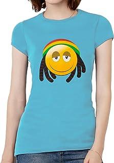 Womens Rasta Emoticon Short-Sleeve T-Shirt