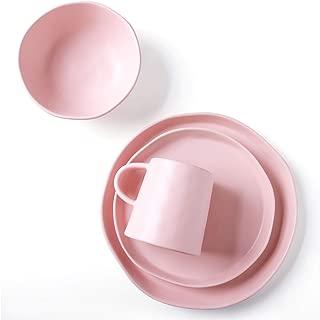 Le Tauci 4 Piece Matte Glaze Dinnerware Set, Place Setting Service One Person, Pink