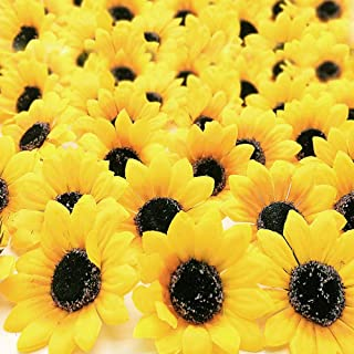 ZMOCEN 100pcs Artificial Silk Yellow Sunflower Heads 2.8