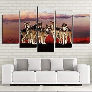 WMAPDWLH Peinture 5 Panneaux Décoration de la Maison Photos HD Impression Affiches Cadre Salon 5 Panneau Loup dans La Mont...