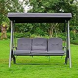 Home Deluxe - Hollywoodschaukel DESCANSO - Farbe: Grau - inkl. Sitz- und Rückenkissen - pulverbeschichtet - B/H/L 115cm x 195cm x 198cm I Gartenliege Gartenlounge Schaukelliege