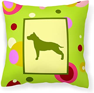 Caroline's Treasures Lime Green Dots Staffie Fabric Decorative Pillow CK1007PW1414, 14Hx14W, Multicolor
