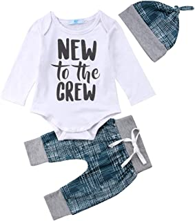 3Pcs Newborn Baby Boy Clothes for Baby Shower New to The Crew Letter Print Bodysuit Set Romper+Long Pants+Hat