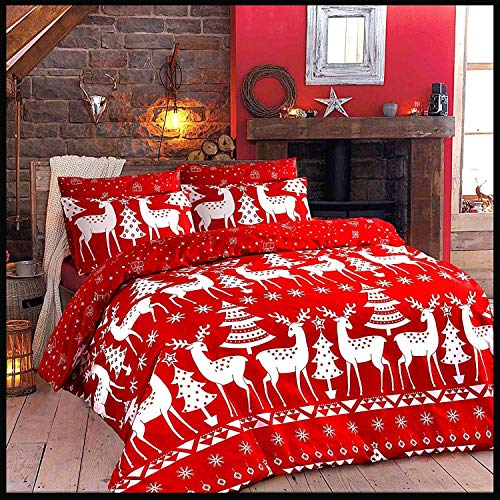 Adams Christmas Duvet Cover Set Bed Set, Ultra Soft Printed Quilt Cover With Pillowcases Comforter Cover - Christine - Super King Bedding Set