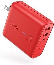 Anker PowerCore Fusion 5000 (モバイルバッテリー 搭載 USB充電器 5000mAh) 【PSE認証済/コンセント 一体型/PowerIQ搭載/折りたたみ式プラグ】 iPhone & Android各種対応 (レッド)