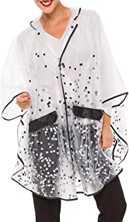 MELIFLUOS DESIGNED IN SPAIN Raincoat Poncho for Women with Hood Portable Foldable Fashion Polka Dots Design