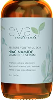 Niacinamide 5% Serum by Eva Naturals (2 oz) - Vitamin B3 Anti-Aging Skin Moisturizer and Reduces Appearance of Wrinkles, Lines Diminishes Acne Breakouts, Hyperpigmentation, Dark Spot Remover for Face