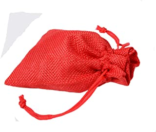 50 Pcs Drawstring Burlap Gift Bags, 13x18cm Resusable Jewelry Pouches Sacks for Wedding Favor Party DIY Craft and Christmas,Red