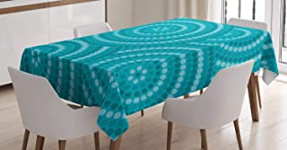 Ambesonne Teal Tablecloth, Abstract Aboriginal Tradition Dot Painting Australian Indigenous Folk Artwork Circle Shapes, Rectangular Table Cover for Dining Room Kitchen Decor, 60