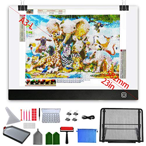 Diamond Painting Light Pad A3, with Large Metal Stand, A3L Large Size LED Light Pad, Ultra-Thin Dimmable Diamond Art Light Board with Complete Set of Diamond Painting Tools and Accessories