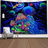 Holcuva Psychedelic Tapestry Trippy Tapestry Mushroom Tapestry Galaxy Starry Sky Tapestry Universe Planet Tapestry Wall Hanging for Bedroom Living Room Dorm Décor 51.2x59.1 Inches