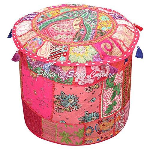 Ottoman Pouffe Tabouret Vintage Grande Couverture Rose Indien Brodé Patchwork Coton Traditionnel Tissu Rond Pouf Ottoman Couverture (22x22x13 Pouce) 55cm