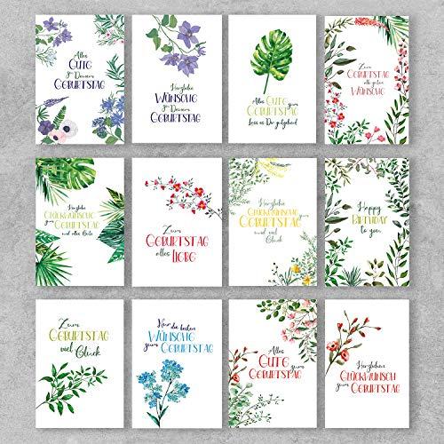 PremiumLine Geburtstagskarten Set 12 Stück mit Umschlag Glückwunschkarte Happy Birthday Grußkarte mit Innendruck Pflanzen Blumen Flora 11,5 x 17,5 cm umweltfreundliche Klappkarte aus Naturkarton