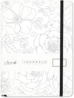 "ColorIt Flower Notebook Journal 5.8"" x 8.2"", A5, 320 Dot Grid Pages, Hardcover, Matte Cover Finish, Elastic Band, Inner Pocket, Bookmark, Perforated Pages, Perfect for Bullet Journaling"