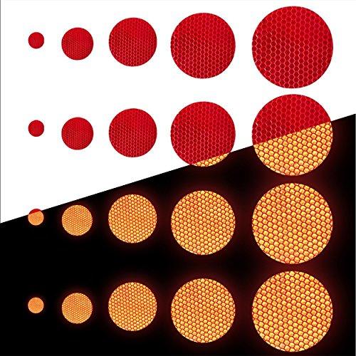 Tuqiang® Forma Redonda Cinta Reflectante Impermeable Pegatina para Excavadora de Tractor Scooter Alta Visibilidad Cinta Adhesiva Reflectante 25 Piezas Rojo