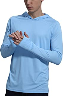 Men's UPF 50+ Sun Protection Fishing Hoodie Shirt Long Sleeve SPF Outdoor UV Shirt Hiking Lightweight
