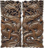 """Asiana Home Decor Lucky Chinese Dragon Wood Wall Art Sculpture. Feng Shui Daragon Carved Wood Wall Panel. Size 17.5""""x7.5""""x1 Each, Set of 2 Pcs. (Brown)"""