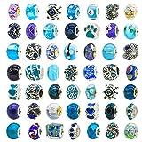 toaob 50 pezzi foro grandi europee vetro perline e tibetano antico argento strass metallo distanziatore bead per collana bracciale orecchini creazione di gioielli blu tema