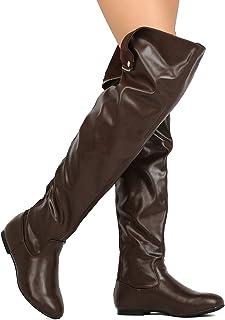 457cf75b335 Nature Breeze Women Leatherette Thigh High Hind Zipper Flat Boot FH72